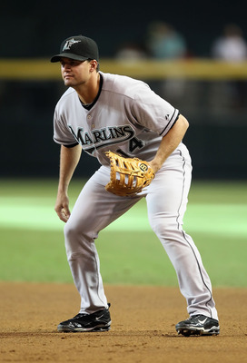PHOENIX - JULY 10:  Infielder Gaby Sanchez #14 of the Florida Marlins in action during the Major League Baseball game against the Arizona Diamondbacks at Chase Field on July 10, 2010 in Phoenix, Arizona.  The Diamondbacks defeated the Marlins 5-4.  (Photo