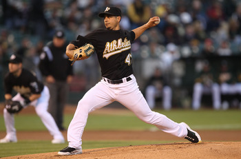 OAKLAND, CA - SEPTEMBER 08:  Gio Gonzalez #47 of the Oakland Athletics pitches against the Seattle Mariners during a Major League Baseball game at the Oakland-Alameda County Coliseum on September 8, 2010 in Oakland, California.  (Photo by Jed Jacobsohn/Ge