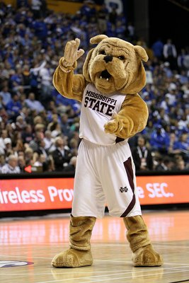 NASHVILLE, TN - MARCH 14:  Bully, the mascot for the Mississippi State Bulldogs performs against the Kentucky Wildcats during the final of the SEC Men's Basketball Tournament at the Bridgestone Arena on March 14, 2010 in Nashville, Tennessee. Kentucky won