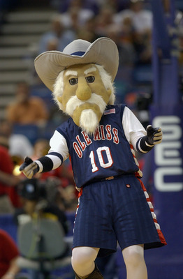 NEW ORLEANS - MARCH 13:  University of Mississippi Rebels mascot, Col. Reb, runs during an intermission in the SEC Men's Basketball Tournament against the University of South Carolina Gamecocks at the Louisiana Superdome on March 13, 2003 in New Orleans,
