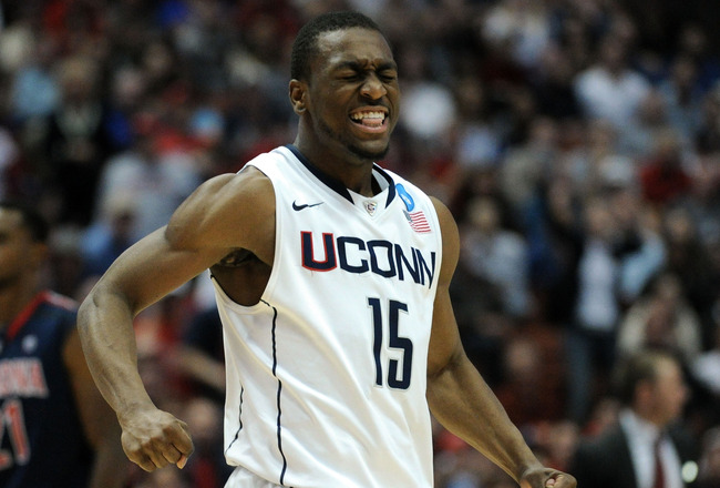ANAHEIM, CA - MARCH 26:  Kemba Walker #15 of the Connecticut Huskies celebrates after a play towards the end of the game against the Arizona Wildcats during the west regional final of the 2011 NCAA men's basketball tournament at the Honda Center on March
