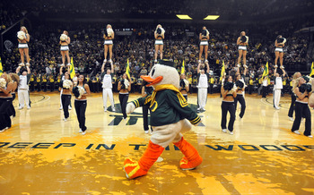 EUGENE, OR - JANUARY 13: 'Puddles', the Oregon Ducks mascot walks on the court during the pre-game ceremonies before the first game between the USC Trojans and the Oregon Ducks basketball teams at Matt Court on January 13, 2011 in Eugene, Oregon. The aren