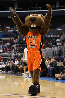LOS ANGELES, CA - MARCH 10:  The Oregon State Beavers mascot performs on the court during a break in the game against the Arizona Wildcats in the quarterfinals of the 2011 Pacific Life Pac-10 Men's Basketball Tournament at Staples Center on March 10, 2011