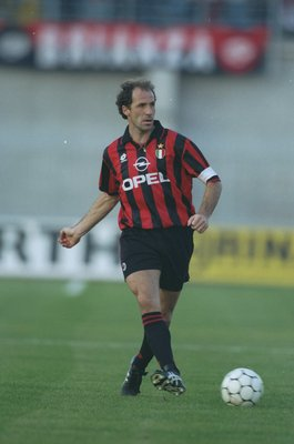 16 Oct 1994:  Franco Baresi of AC Milan in action during a Serie A match against Padova Calcio at the Silvio Appiani Stadium in Padua, Italy. Padova Calcio won the match 2-0. \ Mandatory Credit: Clive  Mason/Allsport