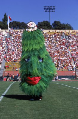 21 Oct 2000:  The Mascot for the Stanford Cardinal performs during the game against the USC Trojans at the Stanford Stadium in Palo Alto, California.  The Cardinals defeated the Trojans 32-30.Mandatory Credit: Tom Hauck  /Allsport