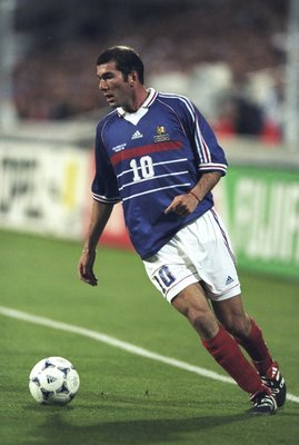 12 Jun 1998:  Zinedine Zidane of France on the ball during the World Cup group C game against South Africa at the Stade Velodrome in Marseille, France. France won 3-0.  \ Mandatory Credit: Stu Forster /Allsport