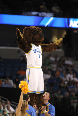 TAMPA, FL - MARCH 17:  The mascot for the UCLA Bruins performs against the Michigan State Spartans during the second round of the 2011 NCAA men's basketball tournament at St. Pete Times Forum on March 17, 2011 in Tampa, Florida.  (Photo by Mike Ehrmann/Ge