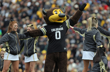 BOULDER, CO - NOVEMBER 13:  Chip, the Colorado Buffaloes mascot, does a stunt with the cheerleaders during a break in the action against the Iowa State Cyclones at Folsom Field on November 13, 2010 in Boulder, Colorado. Colorado defeated Iowa State 34-14.