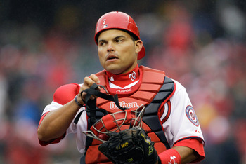 WASHINGTON, DC - MARCH 31:  Catcher Ivan Rodriguez #7 of the Washington Nationals before the start of the third inning against the Atlanta Braves at Nationals Park on March 31, 2011 in Washington, DC.  (Photo by Rob Carr/Getty Images)