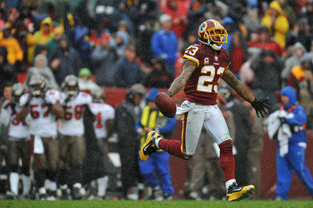 LANDOVER, MD - DECEMBER 12:  DeAngelo Hall #23 of the Washington Redskins celebrates a fumble recovery against the Tampa Bay Buccaneers  at FedExField on December 12, 2010 in Landover, Maryland. The Buccaneers defeated the Redskins 17-16. (Photo by Larry