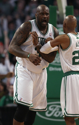 BOSTON, MA - JANUARY 19:  Shaquille O'Neal #36 of the Boston Celtics celebrates with teammate Ray Allen #20 in the fourth quarter against the Detroit Pistons on January 19, 2011 at the TD Garden in Boston, Massachusetts. The Celtics defeated the Pistons 8