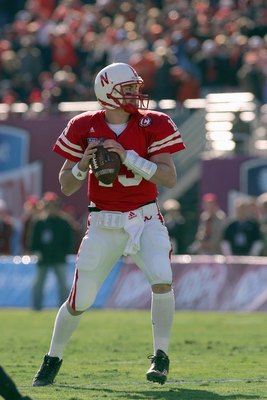 DALLAS - JANUARY 01: Quarterback Zac Taylor #13 of the Nebraska Cornhuskers looks to pass downfield during the AT&T Cotton Bowl Classic against the Auburn Tigers on January 1, 2007 at the Cotton Bowl in Dallas, Texas. (Photo by Ronald Martinez/Getty Image