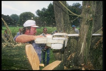 7 Aug 1995:  Craig Stadler cuts down a tree at the Torrey Pines Golf Course in San Diego, California. Mandatory Credit: Stephen Dunn  /Allsport