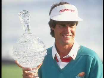 1991:  Paul Azinger poses with a trophy during the AT&T Pebble Beach Pro-Am in Pebble Beach, California. Mandatory Credit: Stephen Dunn  /Allsport