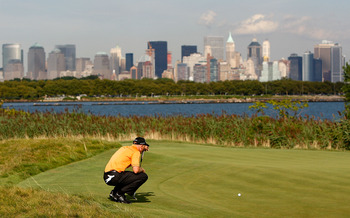 JERSEY CITY, NJ - AUGUST 27:  Jim Furyk lines up a putt during round one at The Barclays on August 27, 2009 at Liberty National in Jersey City, New Jersey.  (Photo by Kevin C. Cox/Getty Images)