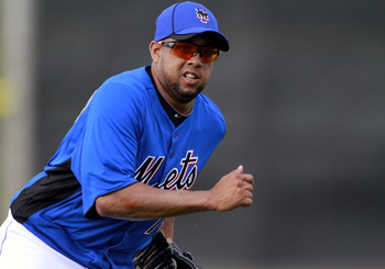 PORT ST. LUCIE, FL - FEBRUARY 17:  RY 17:  Pitcher Francisco Rodriguez #75 of the New York Mets works out during spring training at Tradition Field on February 17, 2011 in Port St. Lucie, Florida.  (Photo by Marc Serota/Getty Images)