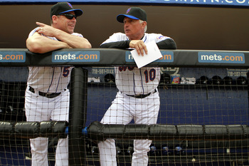 PORT ST. LUCIE, FL - FEBRUARY 26:  David Wright #5 and Manager Terry Collins (R) of the New York Mets chat prior to playing against the Atlanta Braves at Digital Domain Park on February 26, 2011 in Port St. Lucie, Florida.  (Photo by Marc Serota/Getty Ima