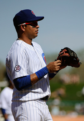 MESA, AZ - MARCH 09:  Aramis Ramirez #16 of the Chicago Cubs on the mound during the spring training baseball game against the Kansas City Royals at HoHoKam Stadium on March 9, 2011 in Mesa, Arizona.  (Photo by Kevork Djansezian/Getty Images)