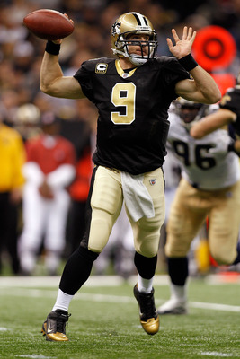 NEW ORLEANS, LA - DECEMBER 12:  Drew Brees #9  of the New Orleans Saints looks to throw the ball during the game against the St. Louis Rams at the Louisiana Superdome on December 12, 2010 in New Orleans, Louisiana.  (Photo by Chris Graythen/Getty Images)