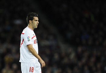 BARCELONA, SPAIN - OCTOBER 30:  Alvaro Negredo of Sevilla FC looks on during the La Liga match between Barcelona and Sevilla FC on October 30, 2010 in Barcelona, Spain. Barcelona won the match 5-0.  (Photo by David Ramos/Getty Images)