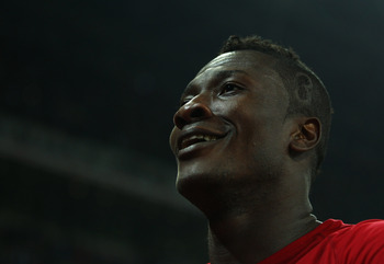 LONDON, ENGLAND - MARCH 29:  Asamoah Gyan of Ghana celebrates after the international friendly match between England and Ghana at Wembley Stadium on March 29, 2011 in London, England.  (Photo by Julian Finney/Getty Images)