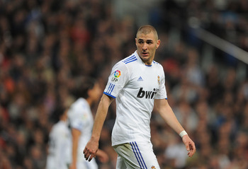 MADRID, SPAIN - MARCH 12:  Karim Benzema of Real Madrid during the La Liga match between Real Madrid and Hercules CF at Estadio Santiago Bernabeu on March 12, 2011 in Madrid, Spain.  (Photo by Denis Doyle/Getty Images)