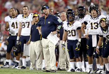 TUCSON, AZ - SEPTEMBER 25:  Head coach Jeff Tedford of the California Golden Bears watches as his team misses a 33 yard field goal during the third quarter of the college football game against the Arizona Wildcats at Arizona Stadium on September 25, 2010