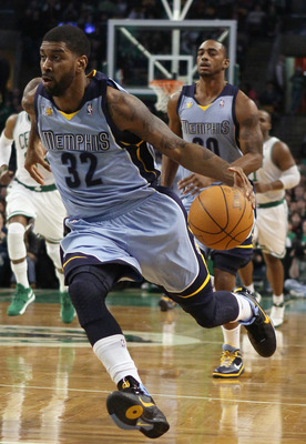 BOSTON, MA - MARCH 23:  O.J. Mayo #32 of the Memphis Grizzlies heads for the net in the first half against the Boston Celtics on March 23, 2011 at the TD Garden in Boston, Massachusetts.  NOTE TO USER: User expressly acknowledges and agrees that, by downl