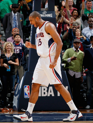 ATLANTA, GA - APRIL 01:  Al Horford #15 of the Atlanta Hawks reacts after their 88-83 win over the Boston Celtics at Philips Arena on April 1, 2011 in Atlanta, Georgia.  NOTE TO USER: User expressly acknowledges and agrees that, by downloading and/or usin