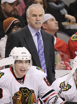 DALLAS, TX - FEBRUARY 11:  Head coach Joel Quenneville of the Chicago Blackhawks at American Airlines Center on February 11, 2011 in Dallas, Texas.  (Photo by Ronald Martinez/Getty Images)