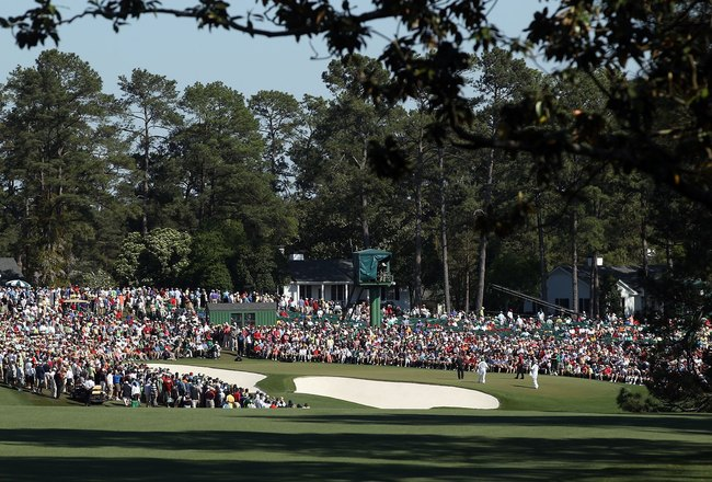 AUGUSTA, GA - APRIL 11:  A general view of the 9th green during the final round of the 2010 Masters Tournament at Augusta National Golf Club on April 11, 2010 in Augusta, Georgia.  (Photo by Streeter Lecka/Getty Images for Golf Week)
