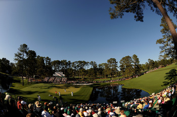 A view of the 15th green from the stands