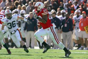 DALLAS - JANUARY 01: Marlon Lucky # 20 of the Nebraska Cornhuskers carries the ball during the AT&T Cotton Bowl Classic against the Auburn Tigers on January 1, 2007 at the Cotton Bowl in Dallas, Texas. (Photo by Ronald Martinez/Getty Images)