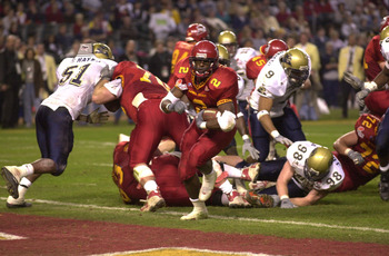 28 Dec 2000:  Ennis Haywood #2 of Iowa State scores the third touchdown for the Cyclones against Pittsburgh during the second quarter of the Insight.com Bowl at Bank One Ballpark in Phoenix, Arizona.  DIGITAL IMAGE. Mandatory Credit: Harry How/ALLSPORT