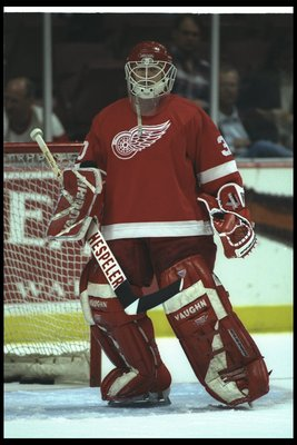 5 Apr 1996:  Goaltender Chris Osgood of the Detroit Red Wings looks on during a game against the Anaheim Mighty Ducks at Arrowhead Pond in Anaheim, California.  The game was a tie, 2-2. Mandatory Credit: Jamie Squire  /Allsport