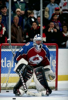 14 Nov 1997:  Goaltender Patrick Roy of the Colorado Avalanche in action during a game against the New Jersey Devils at the McNichols Arena in Denver, Colorado.  The Devils defeated the Avalanche 4-1. Mandatory Credit: Al Bello  /Allsport