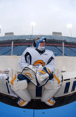 ORCHARD PARK, NY - DECEMBER 31:  Ryan Miller #30 of the Buffalo Sabres rests for a moment during practice for the NHL Winter Classic at Ralph Wilson Stadium December 31, 2007 in Orchard Park, New York.  (Photo By Dave Sandford/Getty Images)