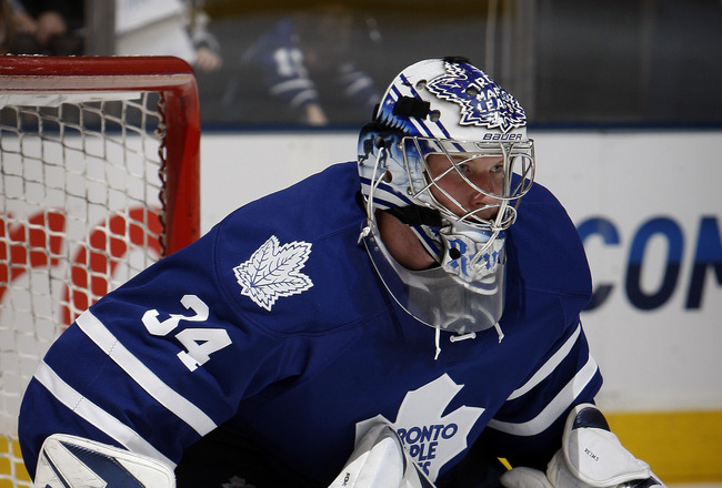 TORONTO, CANADA - FEBRUARY 26: James Reimer #34 of the Toronto Maple Leafs guards the net during the game against the Pittsburgh Penguins at the Air Canada Centre February 26, 2011 in Toronto, Ontario, Canada. (Photo by Abelimages/Getty Images)