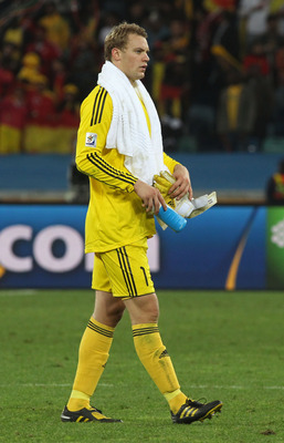 DURBAN, SOUTH AFRICA - JULY 07:  Dejected Dejected Manuel Neuer of Germany after being knocked out of the tournament during the 2010 FIFA World Cup South Africa Semi Final match between Germany and Spain at Durban Stadium on July 7, 2010 in Durban, South
