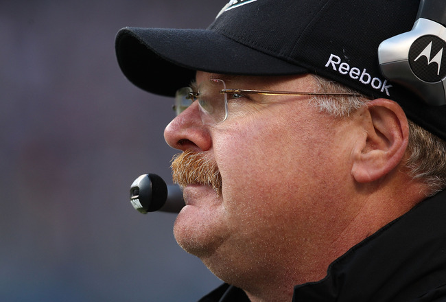 CHICAGO - NOVEMBER 28: Head coach Andy Reid of the Philadelphia Eagles watches as his team takes on the Chicago Bears at Soldier Field on November 28, 2010 in Chicago, Illinois. The Bears defeated the Eagles 31-26. (Photo by Jonathan Daniel/Getty Images)