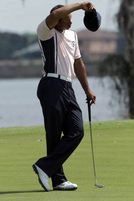 WINDERMERE, FL - MARCH 15:  Tiger Woods of the USA on the 9th hole during the second day of the 2011 Tavistock Cup at Isleworth Golf and Country Club on March 15, 2011 in Windermere, Florida.  (Photo by David Cannon/Getty Images)