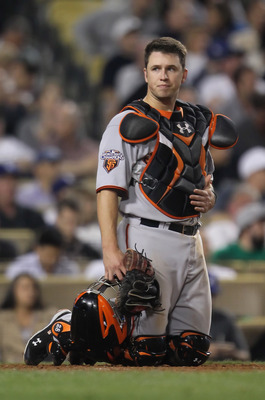 LOS ANGELES, CA - APRIL 01:  Catcher Buster Posey #28 of the San Francisco Giants looks on against the Los Angeles Dodgers at Dodger Stadium on April 1, 2011 in Los Angeles, California.  (Photo by Jeff Gross/Getty Images)