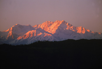 DARJEELING - NOVEMBER:  Views of the peaks during the Mount Everest Challenge Marathon, which winds past spectacular views of Everest and Kanchenjunga at Sandakphu National Park in the month of November 1995 near Darjeeling, India.