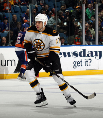 UNIONDALE, NY - MARCH 11:  Milan Lucic #17 of the Boston Bruins skates against the New York Islanders at the Nassau Coliseum on March 11, 2011 in Uniondale, New York.  (Photo by Bruce Bennett/Getty Images)