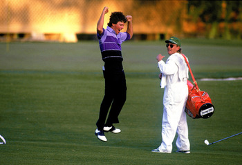 12 Apr 1987:  Larry Mize of the USA celebrates chipping in on the second play-off hole number 11 to win the masters during the US Masters 1987 held at the Augusta National Golf Club, Georgia.  \ Mandatory Credit: David Cannon /Allsport