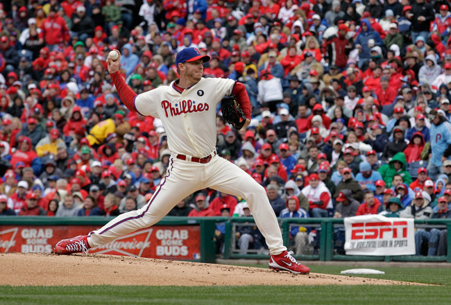 PHILADELPHIA, PA - APRIL 01:  Starting pitcher Roy Halladay #34 of the Philadelphia Phillies delivers to a Houston Astros batter during the third inning of opening day at Citizens Bank Park on April 1, 2011 in Philadelphia, Pennsylvania.  (Photo by Rob Ca