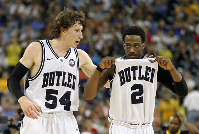 HOUSTON, TX - APRIL 02:  Matt Howard #54 and Shawn Vanzant #2 of the Butler Bulldogs celebrate after defeating the Virginia Commonwealth Rams during the National Semifinal game of the 2011 NCAA Division I Men's Basketball Championship at Reliant Stadium o