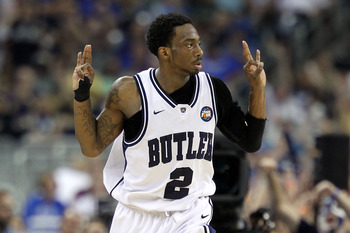 HOUSTON, TX - APRIL 02:  Shawn Vanzant #2 of the Butler Bulldogs reacts after a three pointer against the Virginia Commonwealth Rams during the National Semifinal game of the 2011 NCAA Division I Men's Basketball Championship at Reliant Stadium on April 2