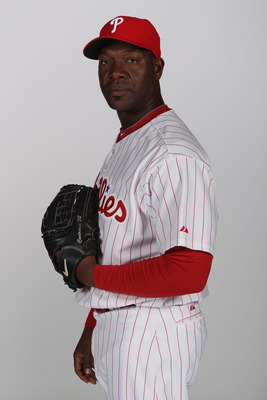 CLEARWATER, FL - FEBRUARY 22:  Jose Contreras #52 of the Philadelphia Phillies poses for a photo during Spring Training Media Photo Day at Bright House Networks Field on February 22, 2011 in Clearwater, Florida.  (Photo by Nick Laham/Getty Images)