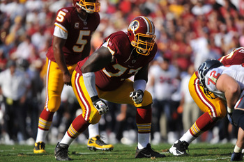 LANDOVER - SEPTEMBER 19:  Jammal Brown #77 of the Washington Redskins defends against the Houston Texans at FedExField on September 19, 2010 in Landover, Maryland. The Texans defeated the Redskins in overtime 30-27. (Photo by Larry French/Getty Images)
